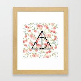 Floral Deathly Hallows Framed Art Print