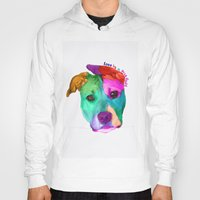 pit bull Hoodies featuring Love is a pit bull by Shay by design