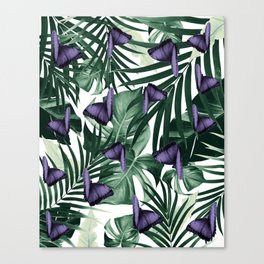 Tropical Butterfly Jungle Leaves Pattern #4 #tropical #decor #art #society6 Canvas Print