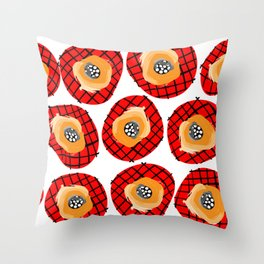 Irregular Red Circles with Black Cross Hatch Yellow Orange and Black Center. Throw Pillow