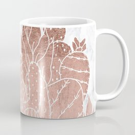 Modern faux rose gold cactus hand drawn pattern illustration white marble Coffee Mug