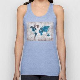 world map 96 blue #worldmap #map Unisex Tank Top