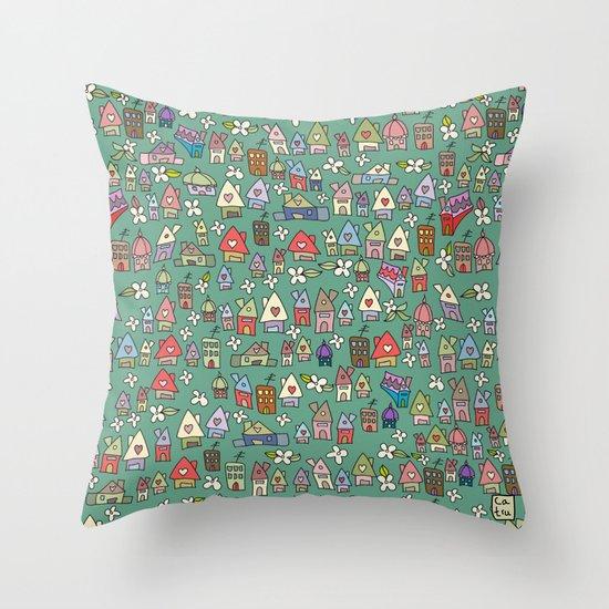 Houses - eco Throw Pillow