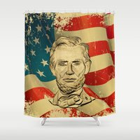 lincoln Shower Curtains featuring ABRAHAM LINCOLN by alexa