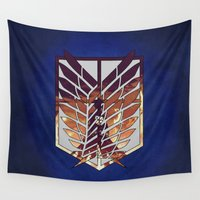 shingeki no kyojin Wall Tapestries featuring Eren by TxzDesign