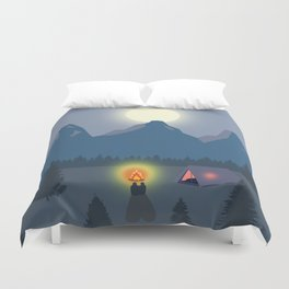 Bonfire camping in the mountains Duvet Cover