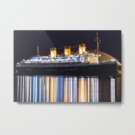 Queen Mary Ship After Dark Metal Print