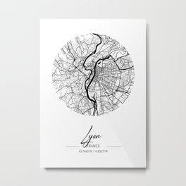 Lyon Area City Map, Lyon Circle City Maps Print, Lyon Black Water City Maps Metal Print