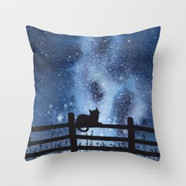 Night full of Sky Watercolor Galaxy Painting Throw Pillow
