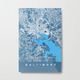 BALTIMORE Map Maryland   Blue Color   More Colors, Review My Collections Metal Print