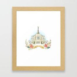 Gilbert Arizona LDS watercolor Temple with flower wreath  Framed Art Print