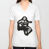 guitar V-neck T-shirts featuring guitar by Falsework