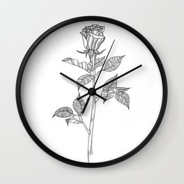 Rose with Tarot Suits / Botanical Line Drawing Wall Clock