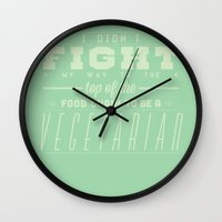 vegetarian Wall Clocks featuring TO BE A VEGETARIAN by KLAM