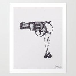 Shot Gun Pin Up Art Print