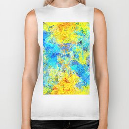 psychedelic geometric abstract pattern in yellow and blue Biker Tank
