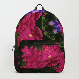 Hot Pink Gerbera And Cool Blue Viola Kaleidoscope Backpack