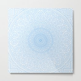 Blue Mandala Design Extra Detailed Geometric Ethnic Tribal Pattern Metal Print