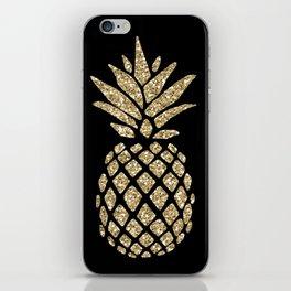 Gold Glitter Pineapple iPhone Skin