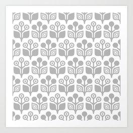 Mid Century Garden Flower Pattern Grey Art Print