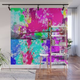 Golden Gate bridge, San Francisco, USA with pink blue green purple painting abstract background Wall Mural