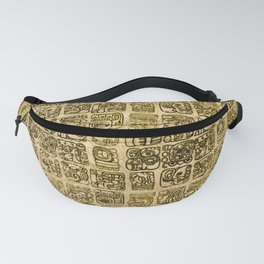 Mayan and aztec glyphs gold on vintage texture Fanny Pack