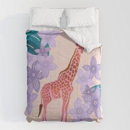 Tropical Giraffe - Blush Pink Comforters