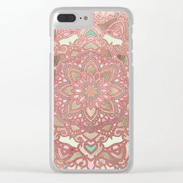 Rose gold cyan mandala Clear iPhone Case