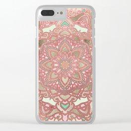 Rose gold cyan mandala Clear iPhone Case