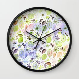 Lemons and flowers- floral Summer pattern on #Society6 Wall Clock