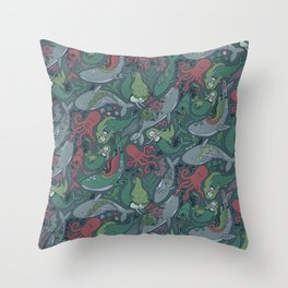 Tattoo master octopus. Whales, mermaids, sharks. Throw Pillow