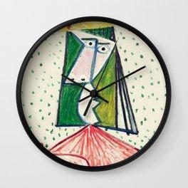 Pablo Picasso Exhibition Art Poster - Buste de Femme Wall Clock