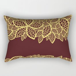 Oriental Persian Paisley, Leaves - Red Yellow Rectangular Pillow
