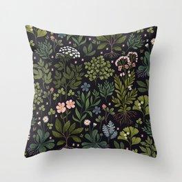 Herbarium ~ vintage inspired botanical art print ~ black Throw Pillow