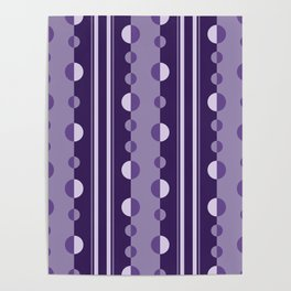 Modern Circles and Stripes in Violet Poster