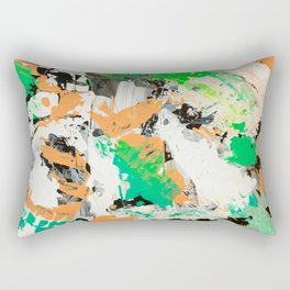 Tropical vibes black salmon white green neon abstract acrylic paint Rectangular Pillow