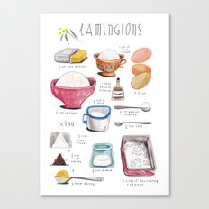 illustrated recipes: lamingtons Canvas Print