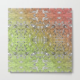 pattern of the summer sunset gradient mirror doodle Metal Print