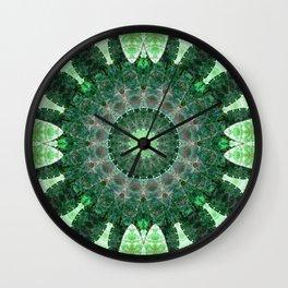 Emerald Shield Mandala Wall Clock