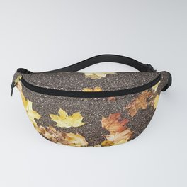 Gold yellow maple leaves autumn asphalt road Fanny Pack
