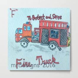 F is for Fire Engine Metal Print