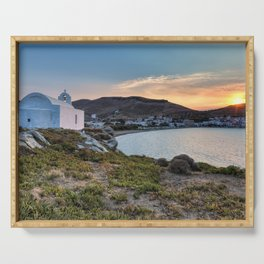 Korissia, which is a natural harbor welcomes you to the island of Kea, Greece Serving Tray