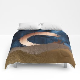 Navy Blue, Gold And Copper Abstract Art Comforters