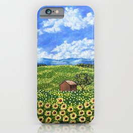 Sunflowers In Provence France by Mike Kraus Kraus - landscape french art farm barn field clouds iPhone Case