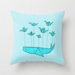 Origami Fail Whale Throw Pillow