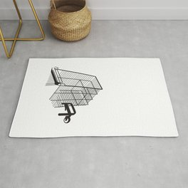 submerged shopping trolley cart wireframe silhouette Rug
