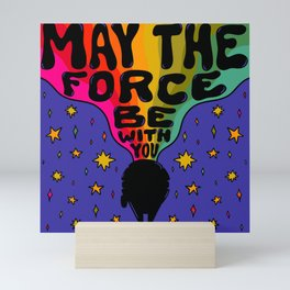 """""""Rainbow May The Force Be With You"""" by Doodle by Meg Mini Art Print"""