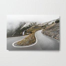 Hairpin Turn on Stelvio Pass Mountain Road Metal Print