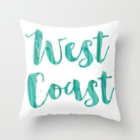west coast Throw Pillows featuring west coast by Huntleigh