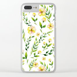 Modern hand painted yellow green watercolor spring flowers Clear iPhone Case
